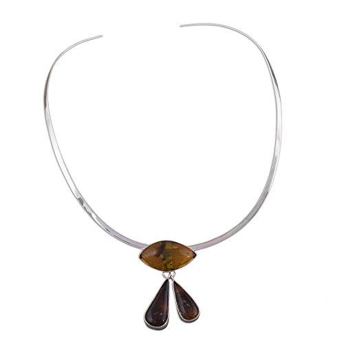 NOVICA Amber .925 Sterling Silver Choker Necklace, 13.5'' 'Eye of God' by NOVICA