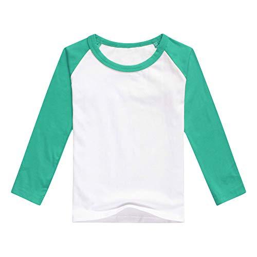Unisex Kids Raglan Shirts Boys Girls Baseball Long Sleeve T-Shirt Toddler Baby Cotton Tee Tops Little Big Sister Brother Family Matching Crew Neck T Shirt Birthday Casual School Clothes Green 8-9Y