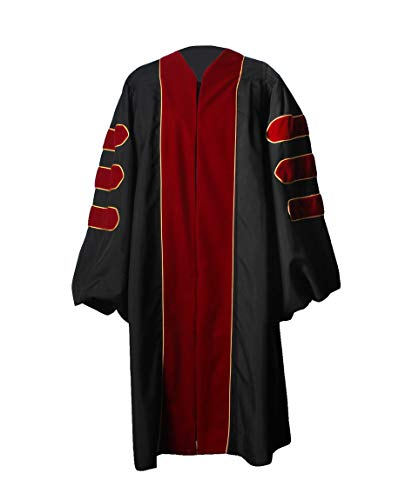 - GraduationService Unisex Deluxe Graduation Doctorate Robe with Gold Piping Available for Customization