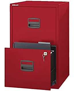 Bisley Two Drawer Steel Home Filing Cabinet, Cardinal Red (FILE2 RD)