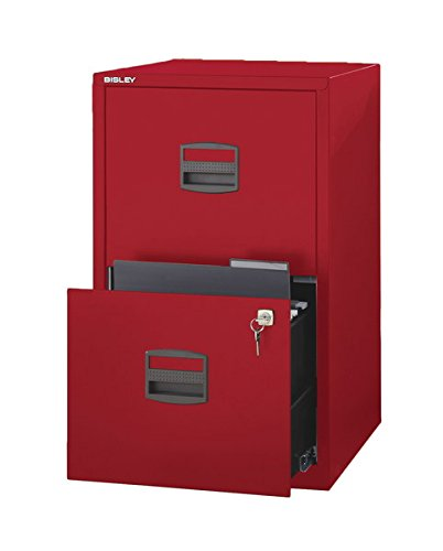 Bisley Two Drawer Steel Home Filing Cabinet, Cardinal Red (FILE2-RD) by Bisley