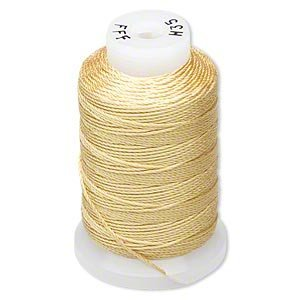 Simply Silk Beading Thick Thread Cord Size FFF (0.016 Inch 0.42mm) Spool 92 Yards Compatible with Kumihimo Super Lon (Gold)
