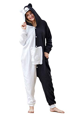 Cousinpjs Adult Cosplay Costume Animal Sleepwear Halloween Pajamas (Medium, White Black Beer)]()