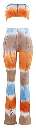 Happy Cool Women's Tie Dye Print Bandeau Top Flared Bell Bottom Pants Outfits Orange/Brown - Dye Tie Top Bandeau