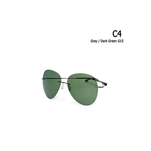 SYBYA NEW Fashion Rimless Aviation Titanium POLARIZED Sunglasses Ultralight Driving Brand Design Sun Glasses Oculos De Sol C4