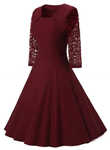 Womens Sleeve with Jaycargogo 3 Dresses Lace Vintage Wine Swing Neck Red Square Cocktail 4 P0dq0F