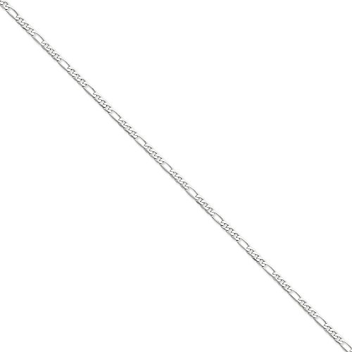14kt White Gold 3.0mm Flat Figaro Chain Anklet; 9 inch 14kt Gold 9 Inch Anklet