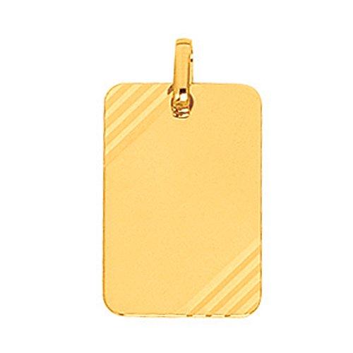 So Chic Bijoux © Pendentif Plaque Rectangulaire Diamanté Or Jaune 750/000 (18 carats) - Personnalisable : Gravure offerte