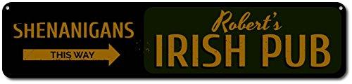 The Lizton Sign Shop Shenanigans This Way Sign, Personalized Arrow Irish Pub Sign, Custom Bartender Bar Owner Name Sign, Pub Decor - Quality Aluminum ENSA1001673-4 x18 Quality Aluminum ()