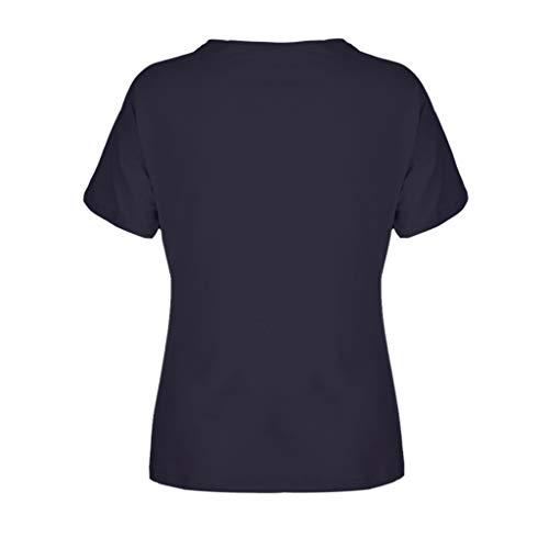 Women's Casual T-Shirts Summer Short Sleeve Color Block Stripe Print Tops Plus Size Cotton Patchwork Blouse Top Shirts (Navy, XXXXXL) by Cealu (Image #5)