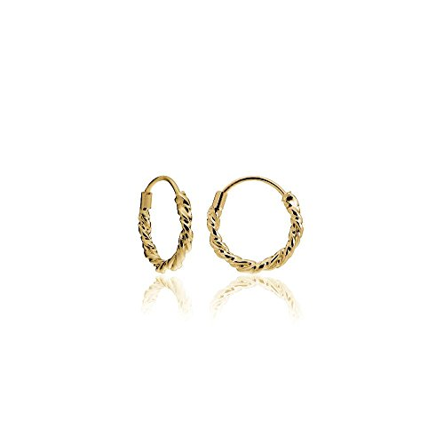 18k Gold Loop (Hoops & Loops 18K Yellow Gold Flash Sterling Silver 1.8mm Twist Endless Hoop Earrings, 10mm)