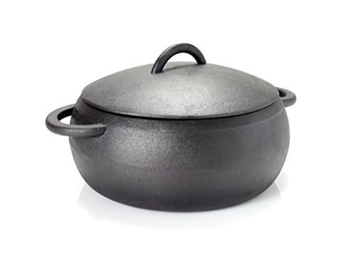 GURO Cast Iron Seasoned Dome Dutch Oven Casserole, Black, 4.7QT