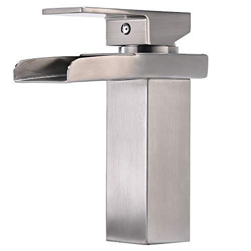 Modern Comercial One Hole Single Handle Lavatory Vanity Stainless Steel Brushed Nickel Waterfall Bathroom Sink Faucet,Bathroom Faucets Spout Simple Mount