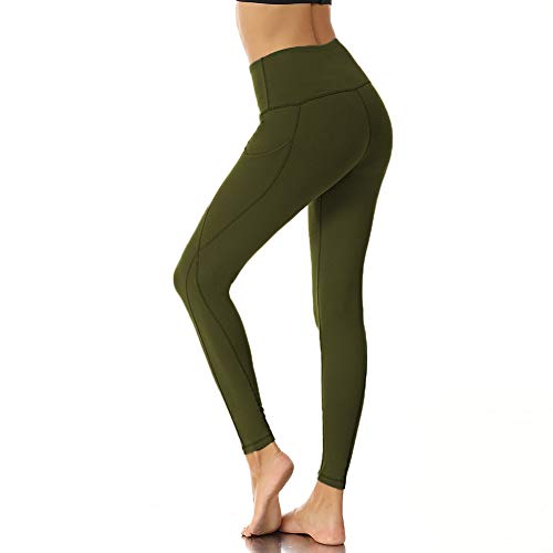 ZOOSIXX High Waisted Leggings with Pockets for Women,Yoga Pants Tummy Control and Elastic Opaque Slim 4 Way Stretch Workout Running (Olive, X-Large)