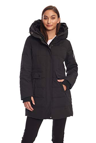 Alpine North Womens Down Mid-Length Winter Coat with Hood