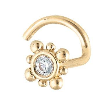 Body Gems 2mm Burst Genuine Diamond 18 Gauge 14kt Gold Nose Ring