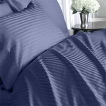 Luxurious NAVY Damask Stripe, QUEEN Size. EIGHT (8) Piece DOWN ALTERNATIVE Comforter BED IN A BAG Set. 1000 Thread Count Ultra Soft Single-Ply 100% Egyptian Cotton. INCLUDES 4pc BED SHEET Set, 3pc DUVET SET & DOWN ALTERNATIVE Comforter - Navy Damask Stripe