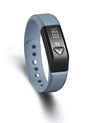 Generic Bluetooth Fitness Tracker Smart Wristband Pedometer Tracking Distance,Steps,Time,Sleeping,Calories Sync Data Compatible with iPhone App Store/ PCs,also some Android (Steel Grey)