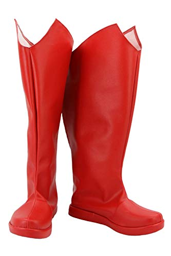 GOTEDDY Superman Red Boots Halloween Cosplay Leather Shoes Costume Accessories
