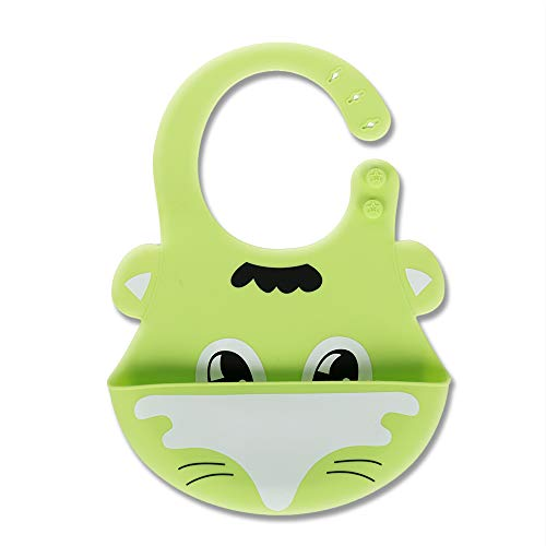 Gift Boxed Cute Silicone Baby Bib! Soft & Light Weight (Green Foxy)