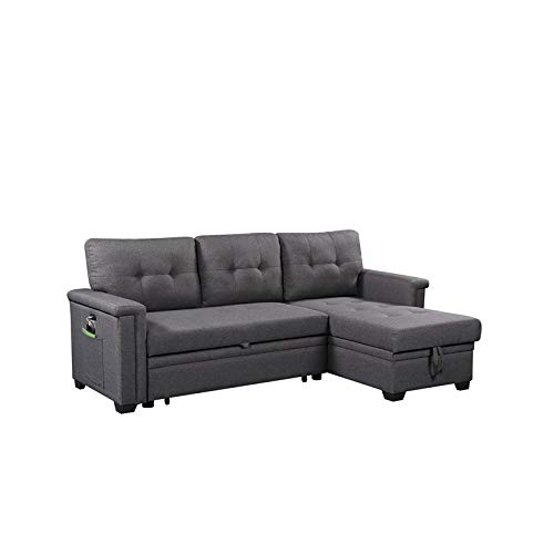 Ashlyn Gray Fabric Reversible Sleeper Sofa Storage Chaise with USB Charger
