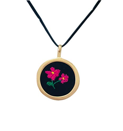 (Double Rose Flower Necklace Embroidered)