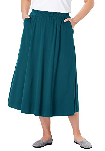 Woman Within Women's Plus Size 7-Day Knit A-Line Skirt - Midnight Teal, 2X