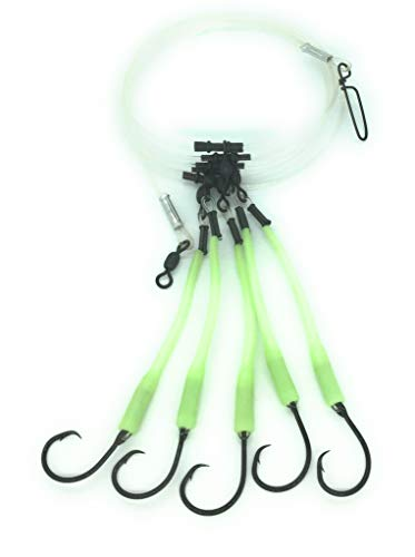 End Game Tackle Company Deep Drop Fishing Rig, 5 Mustad Demon Circle 6/0 Hooks with Glow Sleeve