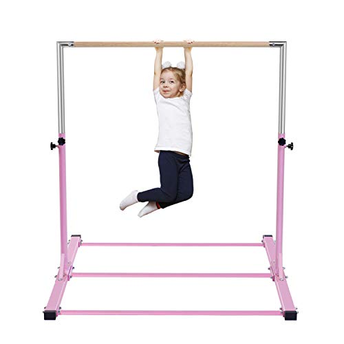 - Safly Zone Gymnastics Junior Training Bar Kids| Expandable Gym Jr Horizontal Kip Bar Gymnast Beginner Home Training Pink Color