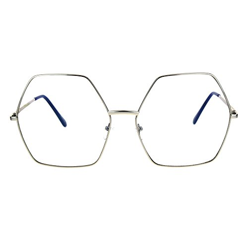 Womens Oversize Octagon Hippie Groovy Retro Clear Lens Eye Glasses - Octagon Eyeglasses