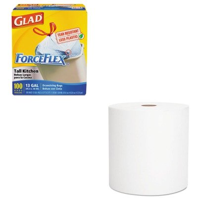 KITCOX70427KIM01052 - Value Kit - 01052 Scott Hard Roll Towel 100% Recycled Fiber, White (KIM01052) and Glad ForceFlex Tall-Kitchen Drawstring Bags (COX70427)