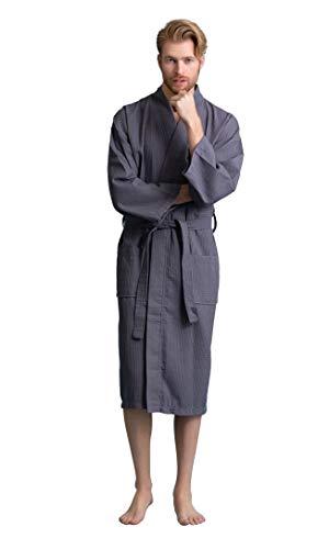 - Handsome Waffle Spa Bathrobe for Men. Luxurious Square Pattern Turkish Cotton (XX-Large, Dark Gray)