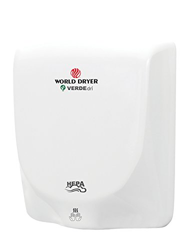World Dryer Q-974A VERDEdri Hi-Speed Surface-Mounted ADA Compliant Hand Dryer, Aluminum, 110-240V, White by World Dryer