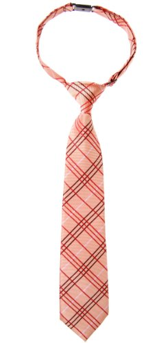 Retreez Tartan Plaid Styles Woven Microfiber Pre-tied Boy's Tie - Orange - 24 months - 4 years
