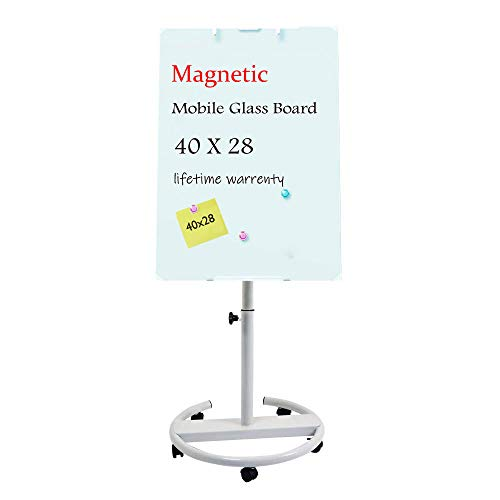 Glass Whiteboard - Magnetic Glass Dry Erase Board 40x28 Inches Mobile Glass Board, Height Adjustable Easel Board Flipchart Easel Glass Board with Marker Tray