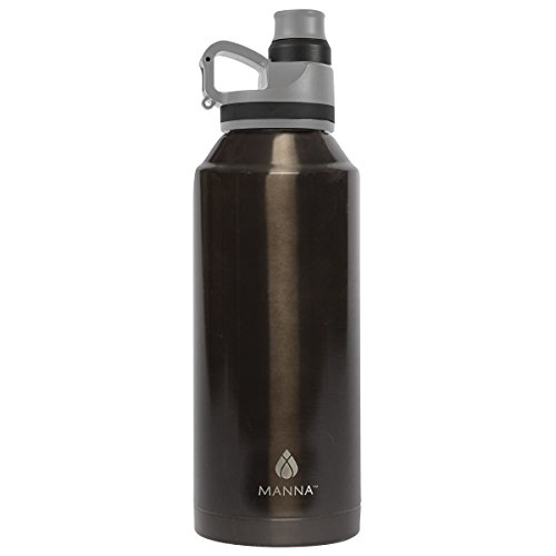 Manna Jumbo Metallic Stainless Steel Sweat Proof Hot & Cold 50 oz Insulated Water Bottle for Sports and Hiking