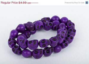 Dark Purple Sugar Skulls Gemstone Beads 1 Long Strand 31 Beads 12mm how0049 Crafting Key Chain Bracelet Necklace Jewelry Accessories Pendants ()