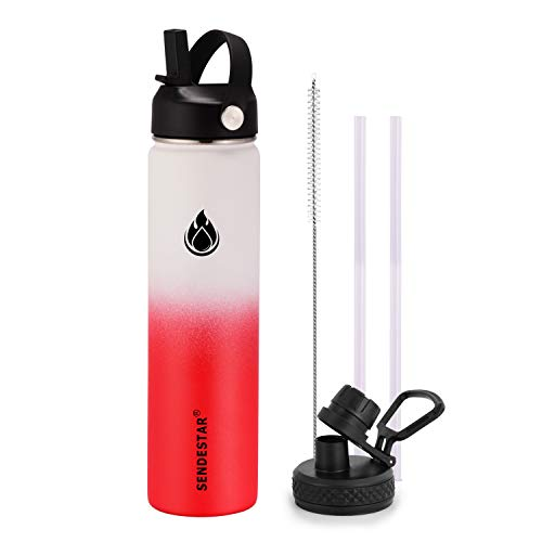 SENDESTAR Water Bottle 24oz Double Wall Vacuum Insulated Leak Proof Stainless Steel Sports Water Bottle—Wide Mouth with New Flex Straw Lid & Spout Lid (White&Red)