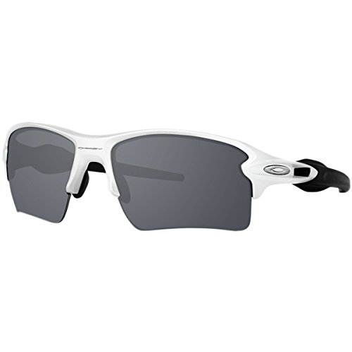 Oakley Men's Flak 2.0 Xl Non-Polarized Iridium Rectangular Sunglasses, Polished White w/Black Iridium, 59 - White Black Oakley Polished Iridium