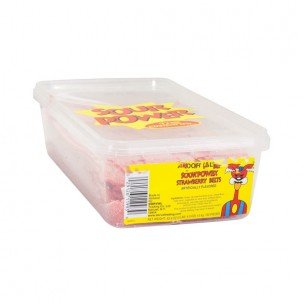SOUR POWER BELTS STRAWBERRY ( 3 POUNDS TUB) 150 COUNT by Unknown