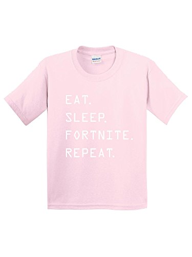 New Way 881 - Youth T-Shirt Eat Sleep Fortnite Repeat Battle Royale Large Light (New Sleep Tee)