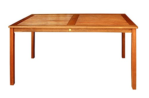 LuuNguyen Outdoor Hardwood Dining Table, Natural Wood Finish -