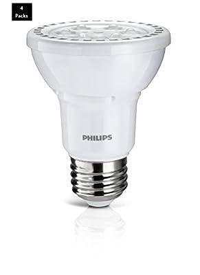 Philips 50W Equivalent Bright White 3000K PAR20 Dimmable LED Flood Light Bulb (4 Pack)