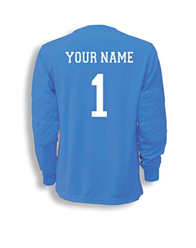 Soccer Goalkeeper Jersey personalized with your name and number - size Youth M - color Sky Blue