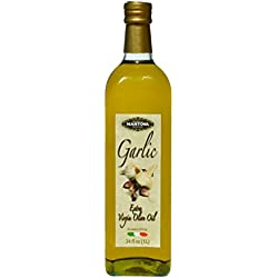 Mantova Garlic Italian Extra Virgin Olive Oil Bottles, 34 oz, 2 Pack