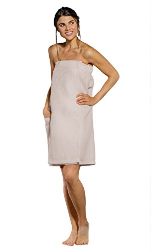 Wrap Body Design - Turquaz Linen Lightweight Knee Length Spa/Bath Waffle Body Wrap with Adjustable Hook-and-Loop Tape (Large, Taupe)