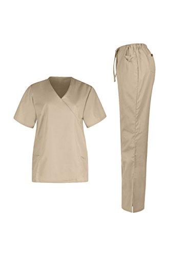 MedPro Women's Medical Scrub Set (Top & Bottom) Khaki S (2426)