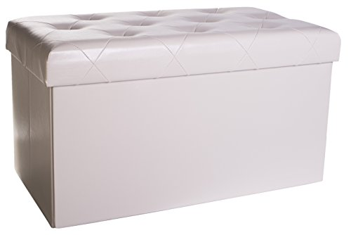 Premium Faux Leather Folding Storage Ottoman with Padded Seat, 30