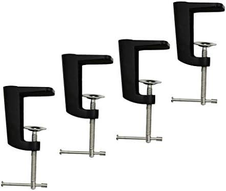 F Fityle 4個のステンレス鋼の調節可能なアームクランプテーブルランプクリップホルダースタンドのセット