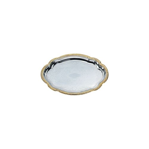 Vollrath Oval Platters - Odyssey Oval Mirror Finish Chrome Plated Gold Trim Serving Tray